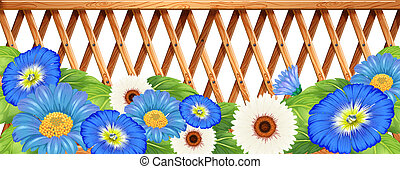 A fence with blue and white flowers