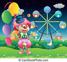 A ferris wheel and the clown with balloons