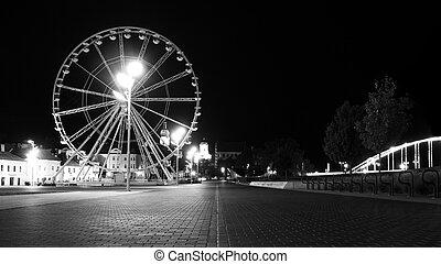 a ferris wheel in downtown Gyor b&w