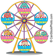A ferris wheel with monsters