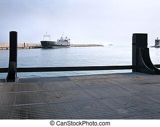 A ferry boat in the port