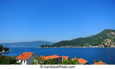 A ferry in the Boka Bay of Kotor in Montenegro, from Lepetane to