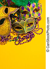 A festive, colorful group of mardi gras or carnivale mask on...