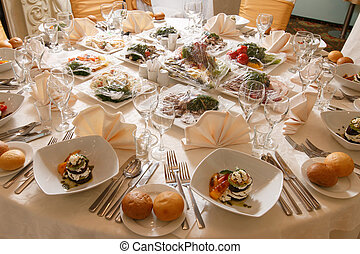 a festive table in the restaurant
