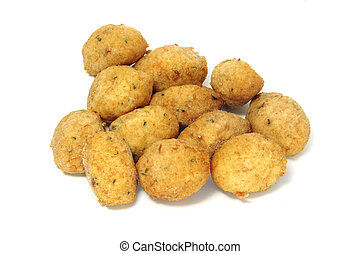 cod fritters - a few cod fritters isolated on a white ...
