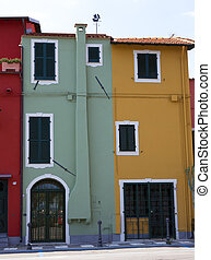 a few colorfull houses in liguria italy
