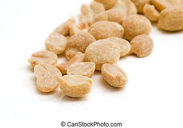 A Few Peanuts - A few peanuts on white background -...