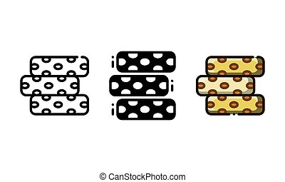 A few pieces of nougat candy - Nougat icon.With outline, ...