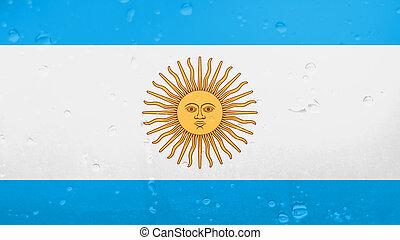 Raindrops On Argentina Flag, Background