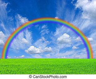 rainbow - a field,  blue sky and rainbow