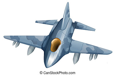 A fighter plane - Illustration of a fighter plane on a white...