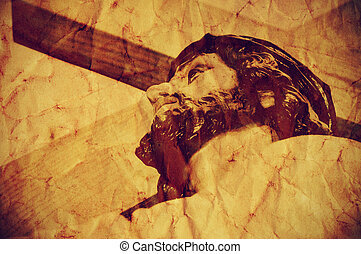 Jesus Christ carrying the Holy Cross, with a retro effect -...