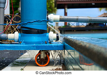 A filter pump cleans the pool water. Device for automatic cleaning of swimming pools