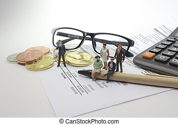 Financial Statement report focus with small figure