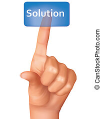 A finger pushing solution button. Vector illustration.