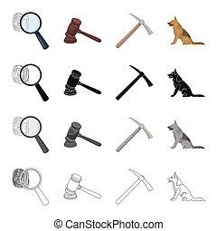 A fingerprint, a judge s hammer, a pickaxe, a service dog....