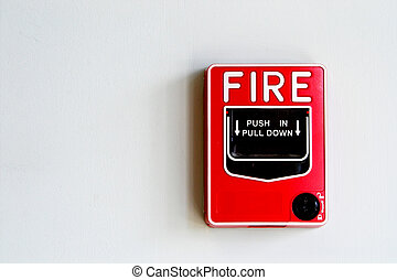 Fire Alarm Pull Box - A Fire Alarm Pull Box installed on a...