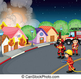 A fire at the village - Illustration of a fire at the ...