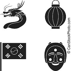 A fire-breathing dragon, a flashlight, a South Korean national flag, a mask, a Korean face in a tatra. South Korea set collection icons in black style vector symbol stock illustration web.