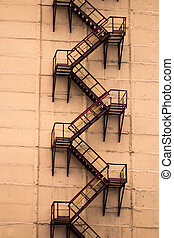 a fire escape on the old building