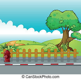 A fire hydrant and a beautiful landscape - Illustration of a...
