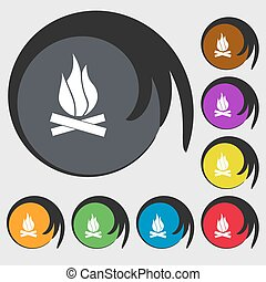 A fire icon sign. Symbol on eight colored buttons. Vector