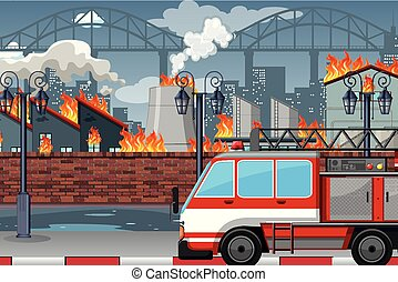 A fire in the factory