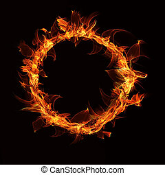 a fire ring on a black background