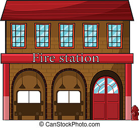 A fire station - Illustration of a fire station on a white...