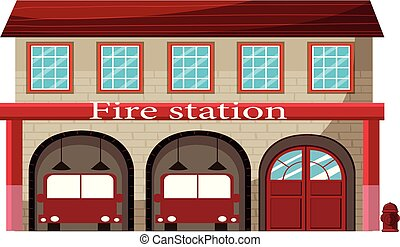 A fire station on white background