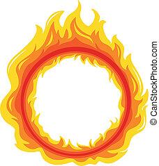 A fireball - Illustration of a fireball on a white...