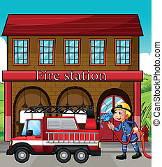 A fireman and a fire truck in front of the fire station -...