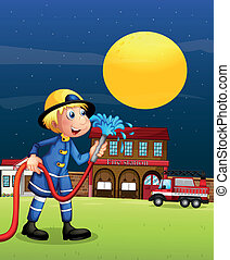 A fireman holding  a hose