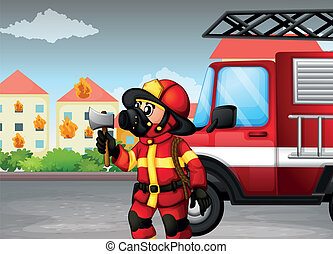 A fireman holding an axe with a truck at the back
