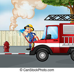 A fireman rescuing a fire near the street