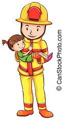 A fireman rescuing a girl