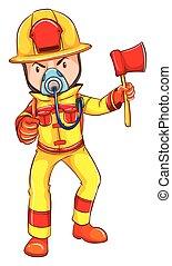 A fireman wearing a yellow uniform