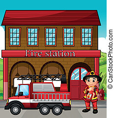 A fireman with a fire truck in a fire station - Illustration...