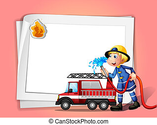 A fireman with a water hose and a truck