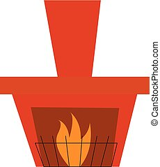 A fireplace with fencing vector or color illustration -...