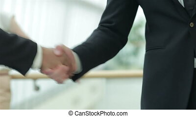 A firm handshake - Smiling businessman in a meeting....
