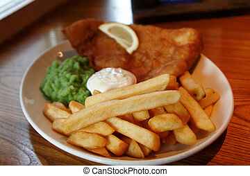 A fish and chip meal