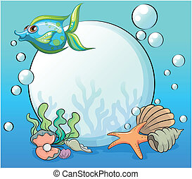 A fish and other sea creatures near the giant pearl