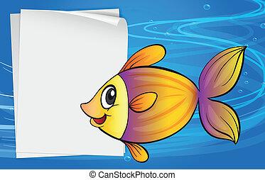 A fish beside an empty signboard