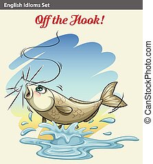 An idiom showing a fish getting caught on a white background