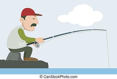 fisherman - a fisherman holding a fishing pole