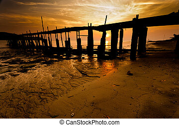 A fishermen jetty with sunset