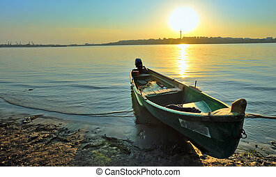 A fishing boat on the shore