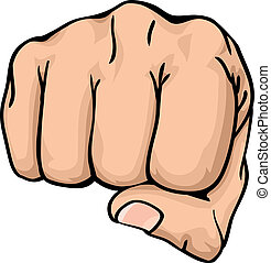 a fist punching towards you - an illustration of a front ...