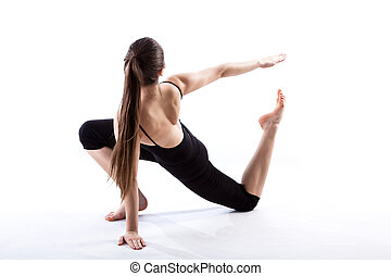 A fit woman stretching her body